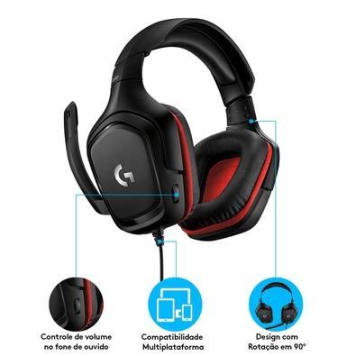 Headset Gamer Logitech G332, Stereo, Drivers 50 mm, Multi-Plataforma - 981-000755