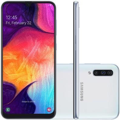 Smartphone Samsung Galaxy A50, 64GB, 25MP, Tela 6.4´, Branco - SM-A505GT/6DL