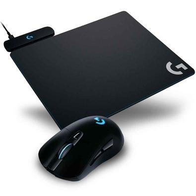 Kit Gamer Logitech G - Mouse G703 Hero Sem Fio RGB Lightsync 16000DPI Mousepad Powerplay RGB, Carregamento Sem fio