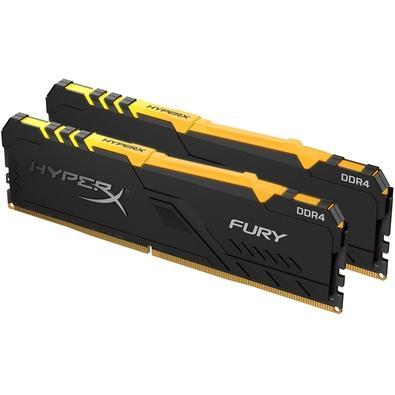 Memória HyperX Fury RGB, 16GB (2x8GB), 2666MHz, DDR4, CL16, Preto - HX426C16FB3AK2/16