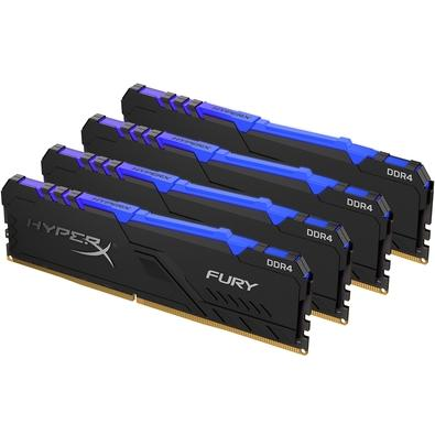Memória HyperX Fury RGB, 64GB (4x16GB), 3000MHz, DDR4, CL15, Preto - HX430C15FB3AK4/64