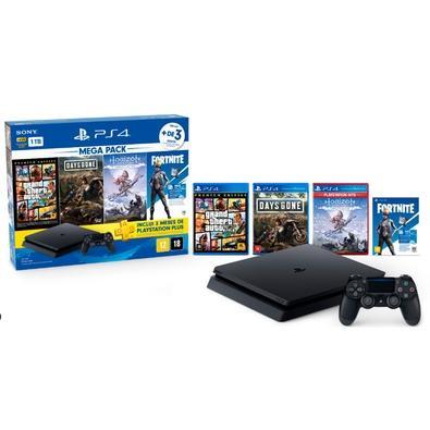 Console Sony PlayStation 4 Hits Bundle 6 1TB - GTA V + Days Gone + Horizon Zero Dawn + Voucher Fortnite Neo Versa - CUH-2214B