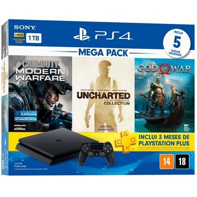Console Sony PlayStation 4 Hits Bundle Mega Pack 7, 1TB - Call Of Duty: Modern Warfare + Uncharted: The Nathan Drake Collection + God Of War - CUH-2214B