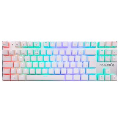 Teclado Mecânico Gamer Fallen Ace Tournament, RGB, Switch Gateron Blue, ABNT2, Branco