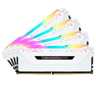 Memória Corsair Vengeance RGB Pro, 32GB (4x8GB), 3000MHz, DDR4, CL15, Branco - CMW32GX4M4C3000C15W