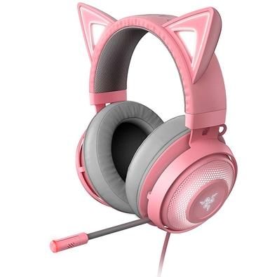 Headset Gamer Razer Kraken Kitty, Chroma, USB, Drivers 50mm, Quartz Pink - RZ04-02980200-R3M1