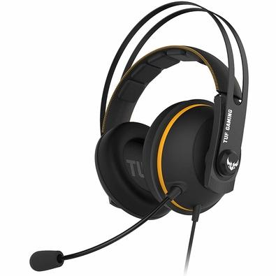 Headset Gamer Asus TUF Gaming H7 Yellow, 7.1 Virtual Surround, Drivers 53mm, Preto/Amarelo - 90YH01MY-B8UA00