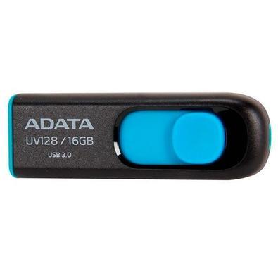 Pen Drive Adata UV128, 16GB, USB 3.2, Preto e Azul - AUV128-16G-RBE