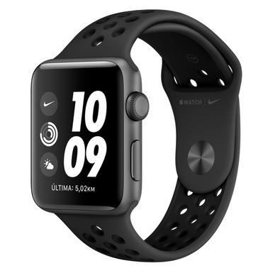 Apple Watch Nike Series 3, 42mm, Cinza Espacial, Pulseira Nike Preta - MTF42BZ/A