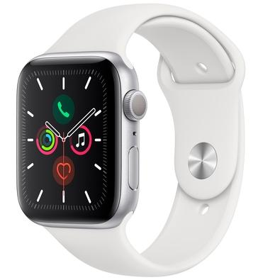 Apple Watch Series 5, GPS, 44mm, Prata, Pulseira Branca - MWVD2BZ/A