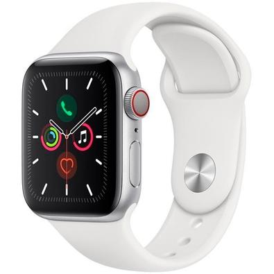 Apple Watch Series 5, GPS, 40mm, Prata, Pulseira Branca - MWX12BZ/A