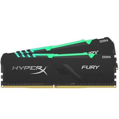 Memória HyperX Fury RGB, 16GB (2x8GB), 3733MHz, DDR4, CL19, Preto - HX437C19FB3AK2/16
