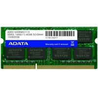 Memória Adata 1600 SO-DIMM 4GB, 1600MHz, DDR3, CL11 - ADDS1600W4G11-S