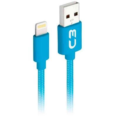 Cabo Lightning x USB, C3 Plus, 1m, Nylon, Azul - CB-L11BL