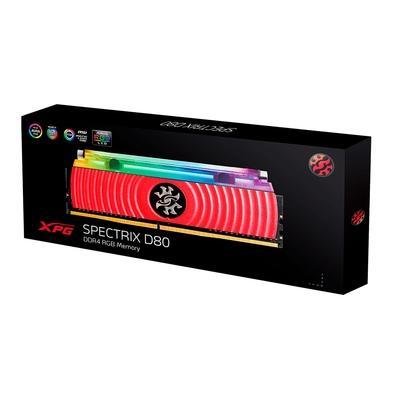 Memória XPG Spectrix D80, RGB, 32GB (2x16GB), 3200MHz, DDR4, CL16, Vermelho - AX4U3200316G16A-DR80