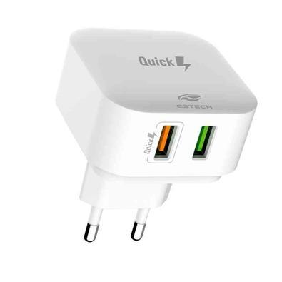 Carregador de Tomada Universal C3Tech, 2 USB, Quick Charge, Branco - UC-Q230WH