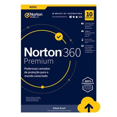 Norton Antivirus 360 Premium ND 75GB para 10 Dispositivos - Digital para Downloaad - 21405580