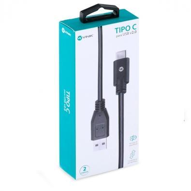 Cabo USB Tipo C x USB A Macho 2.0 Vinik, 2 metros - 31452