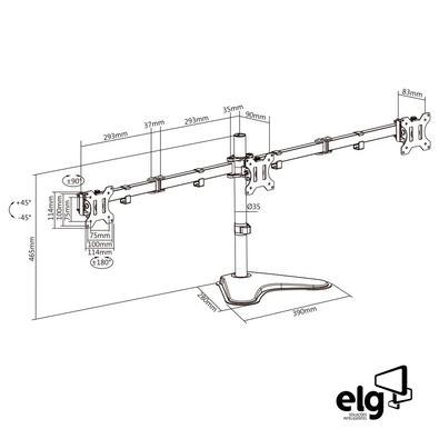 Suporte Triplo de Mesa para Monitores ELG, Giratório, Articulado - T1236N