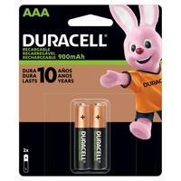 Pilha Recarregável Duracell, AAA Palito, 900mAh, com 2 Unidades - DX2400