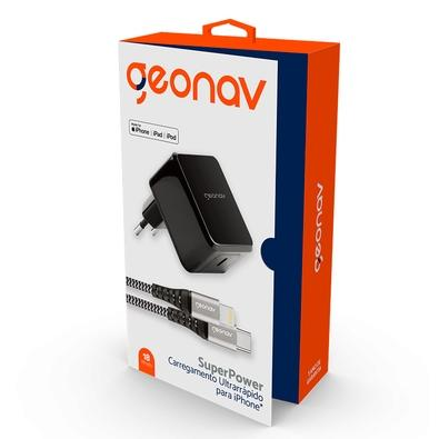 Carregador de Tomada Geonav Superpower, 1 Porta USB-C, Cabo USB-C x Lightning, Cinza - CH18WPDLI