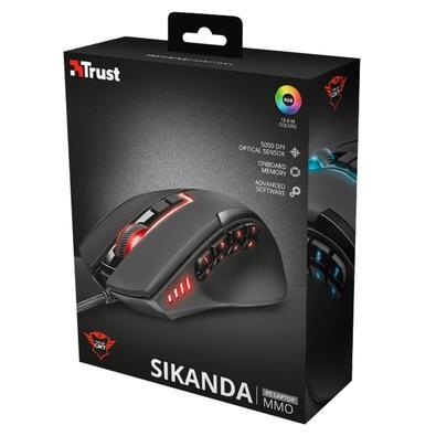 Mouse Gamer Trust GXT 164 Sikanda MMO, RGB, 13 Botões, 5000DPI - 21726