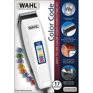 Cortador de Cabelos Wahl Color Code, 8 Pentes Guia Coloridos, 110V, Branco - 60805