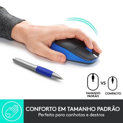 Mouse sem fio Logitech M190 com Design Ambidestro de Tamanho Padrão, Conexão USB e Pilha Inclusa, Azul - 910-005903