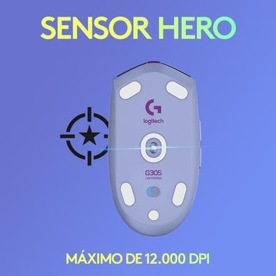 Mouse Gamer Sem Fio Logitech G305 Lightspeed, 6 Botões, 12.000 DPI, Lilás - 910-006021