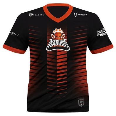 Camiseta Uniforme Oficial KaBuM! e-Sports 2021, Preta, Laranja, Ninja, Dry-Fit, Proteção UV 50+, 100% Poliester, Tamanho P