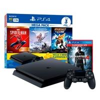 Console PlayStation 4 Mega Pack 15 + Horizon Zero Dawn + Marvel's Spider-Man + Ratchet & Clank + Game Uncharted 4: A Thiefs end Hits
