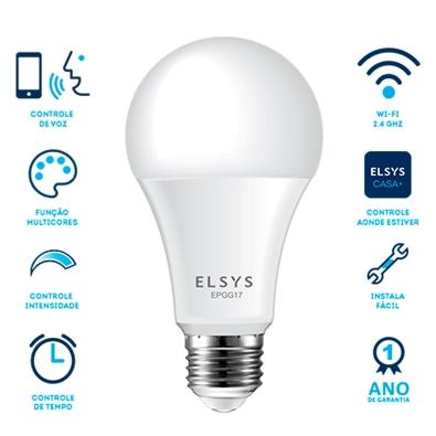 Lampada LED Inteligente Elsys EPGG17, Wi-Fi, RGB, com Controle Via APP, 10W, 1050 Lúmens - 998901330320
