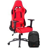 Cadeira Gamer Husky Racing Red - HRC-R + Mochila Gamer Husky Gaming Avalanche, para Notebook de até 17.3´, Preta