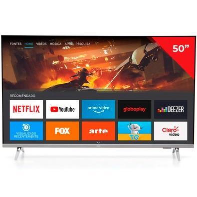 Smart TV AOC 50 4K UHD, DLED, HDR, HDMI/USB/Wi-Fi/Bluetooth, HDR10+, Dolby Vision, Borda Ultrafina, Preto - 50U6305/78G