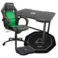 Cadeira Gamer Husky Gaming Snow Preta/Verde + Mesa Gamer Fortrek Preta + Tapete Gamer Alpha Gamer Octan Preto + Apoio de pé Husky