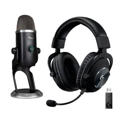 Kit Microfone Condensador Blue Yeti X USB + Headset Gamer Sem Fio Logitech G Pro X Wireless