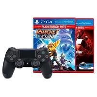 Controle Sony Dualshock 4 PS4, Sem Fio, Preto +  Jogo Ratchet and Clank Hits PS4 + Jogo Gran Turismo Sport Hits PS4