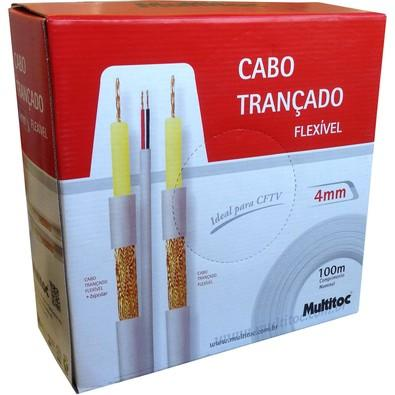 Cabo Trançado Multitoc 4mm + 2x26 AWG-75 CFTV MUCA2084 Branco