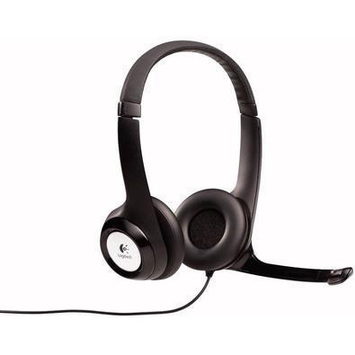 Headset Logitech H390 Áudio Digital em Couro USB Preto e Prata
