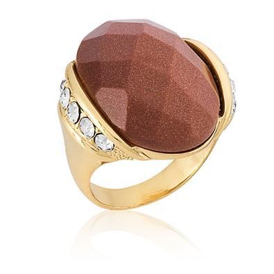 Anel Oval Pedra Natural Gold Stone com Micro Zircônias Tamanho 22 - ANZ0552
