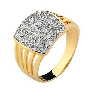 Anel Dourado com Zircônias Tamanho 18 - AN700237F