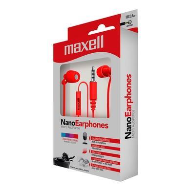 Fone de Ouvido Intra-auricular Com Microfone Vermelho Maxell 7456
