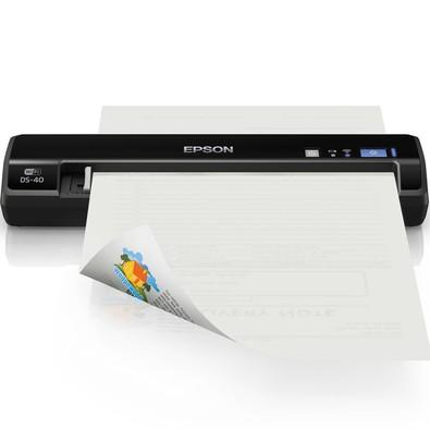 Scanner Portátil Epson WorkForce, 600dpi, USB 2.0, Wi-Fi, Carta / A4, Bivolt, Preto - DS-40