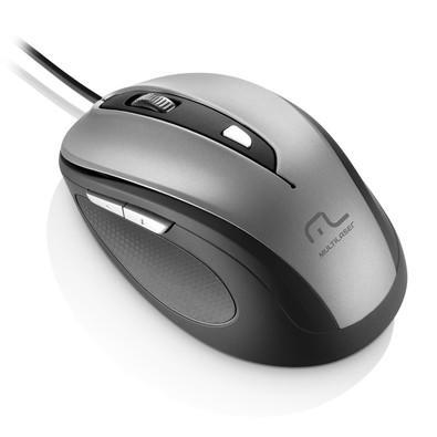Mouse Multilaser 1600DPI USB Preto e Prata - MO242