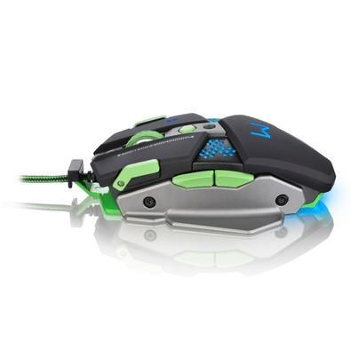 Mouse Gamer Warrior 4000DPI 7 Botões Preto e Verde com LED e Mousepad Incluso - MO249