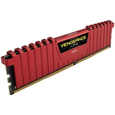 Memória Corsair Vengeance LPX, 8GB, 2400MHz, DDR4, CL16, Vermelho - CMK8GX4M1A2400CL16R