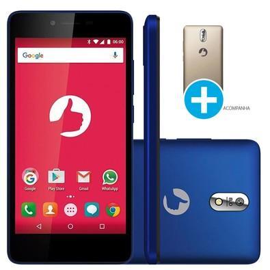 Smartphone Positivo Twist S520, 8GB, 8MP, Tela 5´, Azul + Capa Carregadora Dourada