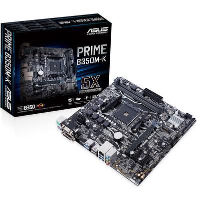 Placa-Mãe ASUS p/ AMD AM4 mATX PRIME B350M-K, DDR4, SATA 6Gb, 4 x USB 3.1 traseiro e 2 frontal, 1x M.2 Soquete 3, Suporta Ryzen 2000