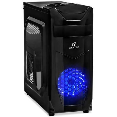 Gabinete Gamer Liketec PRO X3 USB3.0- LED AZUL-Tampa Lateral em Acrílico
