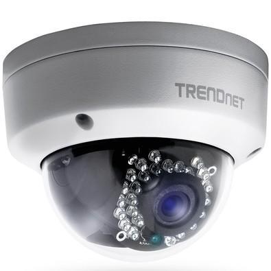 Câmera Dome Trendnet IP 25M PoE Full HD 3MP Metal TV-IP311PI Branca